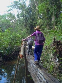 Amanda on a monkey bridge